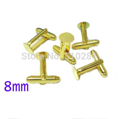 Gold Tone plated French Cuff Links With 8mm Round Flat Blank LK-2996