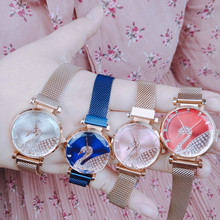 2019 new magnet mesh swan watch ladies fashion trend polygon mirror female watch