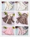 2014 bebés de moda chaqueta de manga larga de los niños faux fur lace flores de simulación suéter niños abrigo de lana