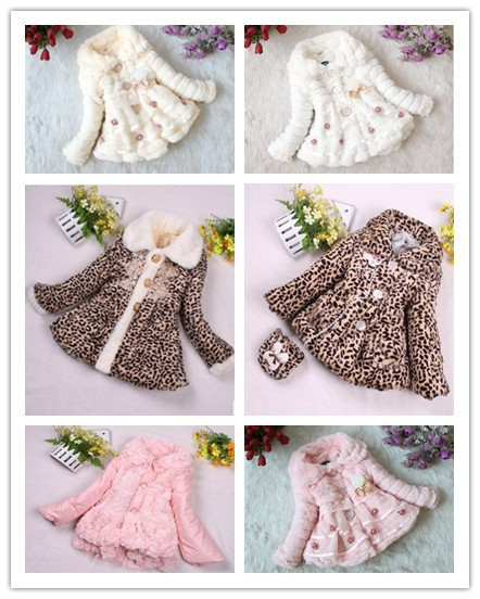 2014 fashion baby girls long sleeve jacket children's faux fur lace three-dimensional flowers simulation sweater kids wool coat