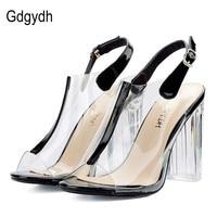 Gdgydh السيدات الصنادل عالية الكعب مفتوحة الأصابع 2018 جديد وصول جلد شفاف الصيف خف حذاء امرأة مثير مصمم الماركة