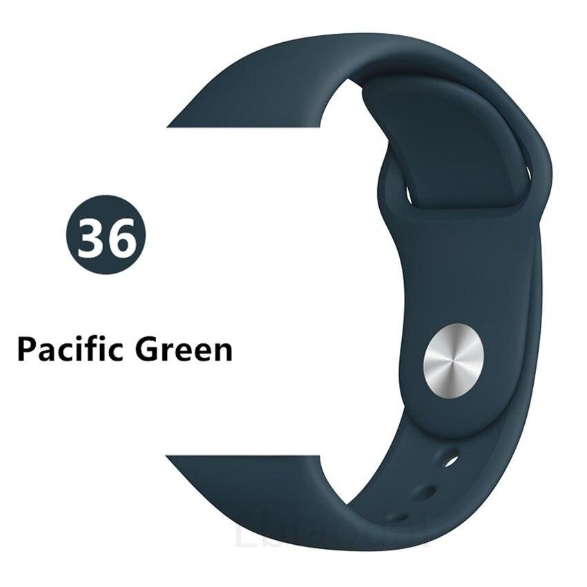 Ремешок для Apple Watch 38 мм 42 мм iWatch 4 ремешка 44 мм 40 мм спортивный силиконовый ремень браслет Apple watch 5 4 3 2 Аксессуары для ремешка - Цвет ремешка: Pcific Green