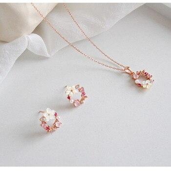 Prawdziwe 925 sterling srebrno-biały shell flower naszyjniki kolczyki zestaw, różowego złota z kwiatowym wzorem różowe kryształowe zestawy biżuterii dla nowożeńców dla kobiet