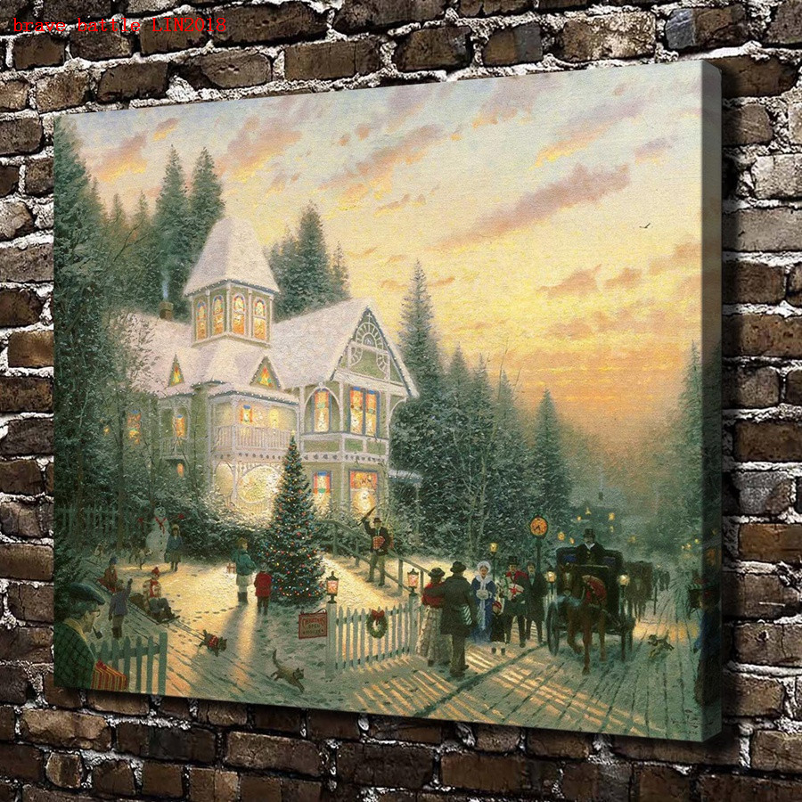 Thomas Kinkade Victorian Christmas Canvas Painting Print Living Room ...