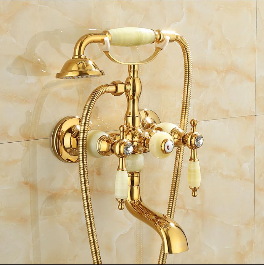 Luxury Antique Style Gold Bath Tub Faucet Jade Handle & Hand held Shower Head Faucet Bathtub faucet set shower faucet setLuxury Antique Style Gold Bath Tub Faucet Jade Handle & Hand held Shower Head Faucet Bathtub faucet set shower faucet set