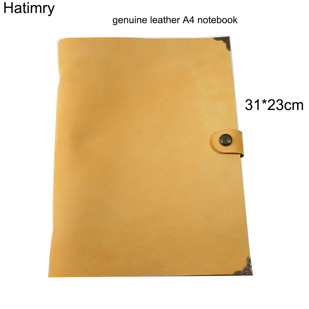 Hatimry A4 cahier 9 trous couverture en cuir véritable journal livres dairly planificateur Vintage à la main cahier bureau fournitures scolaires