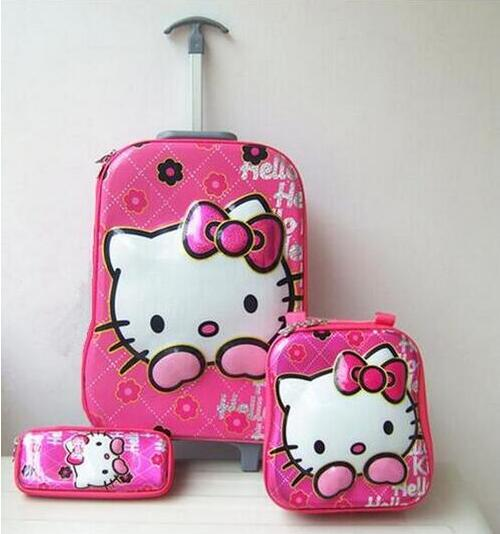 New girls fashion luggage 16 inches luggage with wheels 6D hello kitty luggage sets (lunch box + pen boxes+trolley luggage )