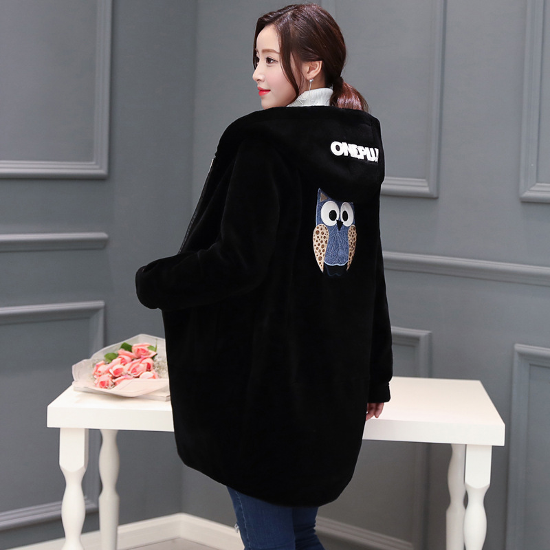 Animal and letter print fashion wool coats outerwear women zipper hooded wool jackets plus size 2018 new arrival autumn winter