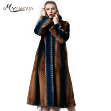 M.Y.FANSTY Winter 2017With Fur Hood Import Mink Coats Women's Noble X-Long Hat Causal Slim Patchwork Color
