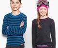100% lana Merino niños Tops ropa interior térmica Camisa de deportes larga manga de la camiseta de las muchachas de 1.5 a 14 años de edad