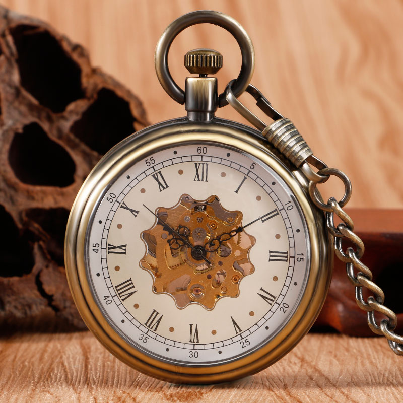 Steampunk Bronze Pocket Watch Mechanical Hand Winding Skeleton Fob Clock With Pocket Chain Unisex Gifts Christmas antique hollow carving horse quartz pocket watch steampunk bronze fob clock for men women gift item with necklace 2017