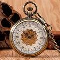 Steampunk Relógio de Bolso de Bronze Mão Mecânica Winding Skeleton Fob Relógio Com Bolso Unisex Cadeia Presentes de Natal