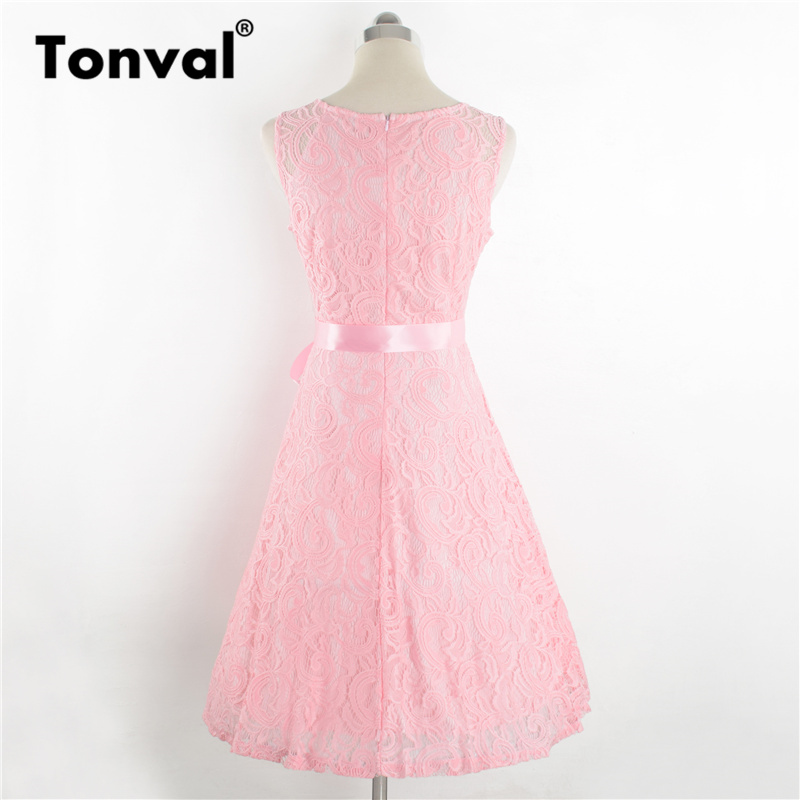Tonval Plus Size 3XL Floral Lace Vintage Summer Dress Women White Retro Tunic Dresses A Line Party Elegant Dress