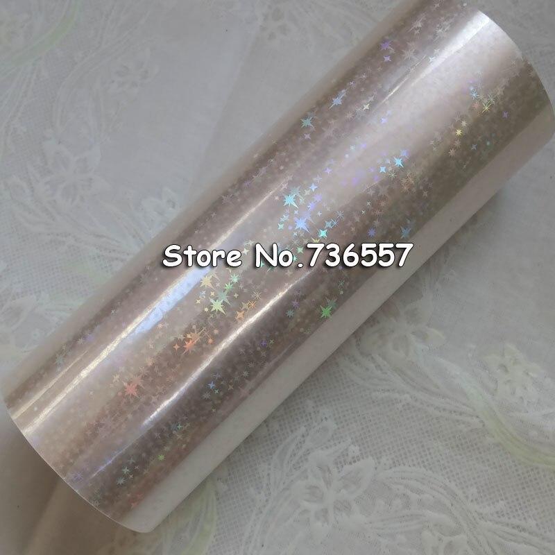 Feuille d'étoile holographique feuille transparente estampage à chaud pour papier ou plastique 16 cm x 120 m feuille de dorure d'étoile brisée