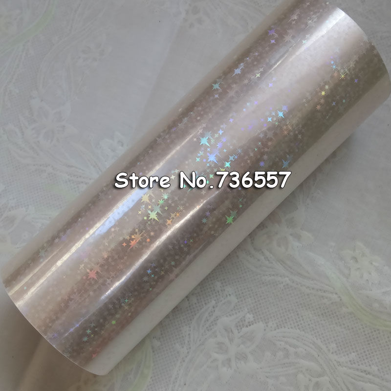 Holographic Star foil transparent foil hot stamping for paper or plastic 16cm x120m Shattered Star Gilding Foil-in Stationery Stickers from Office & School Supplies