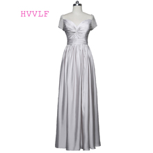 Silver 2019 Formal Celebrity Dresses A-line Cap Sleeves V-neck Chiffon Pearls Women Long Evening Dresses Red Carpet Dresses