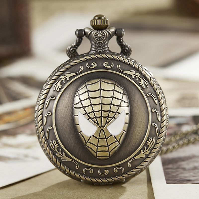Vintage Pocket Watch Fob Chain Spiderman Spider Engrave Marvel Comics Film Clock Mens Flip Hollw Bronze Hour Watch For Men Women