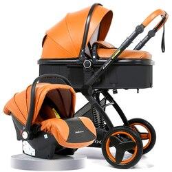 Роскошная детская коляска 3 в 1 с автокреслом с высоким пейзажем, коляска для новорожденных, дорожная система, детская тележка, ходунки, скла...