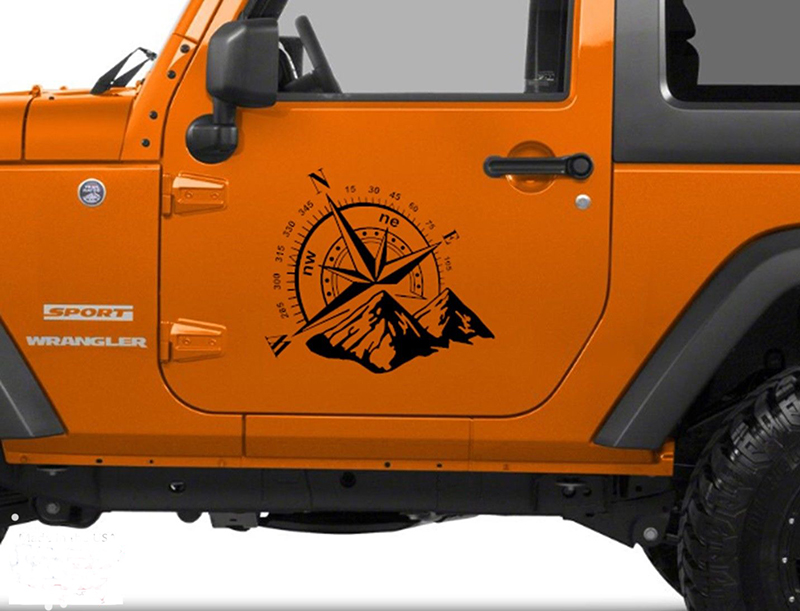 Art Design Car Stickers Vinyl Mountains NSWE Compass Navigate Car Offroad Hood Sticker Decal Auto Fashion Decoration for Jeep