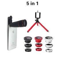 5in1 Tripod with 3in1 lens Fisheye 0.67x wide Macro lens 12x zoom telescope lens Octopus Tripod for iPhone Samsung xiaomi Jiayu
