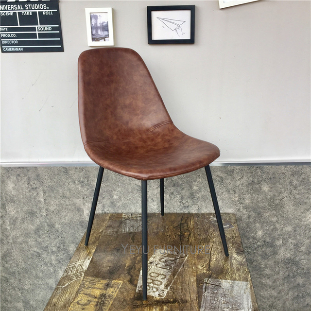 Minimalist Modern Design PU Leather Pad Metal Leg Dining Chair Cafe Loft  Chair Popular Furniture Leisure
