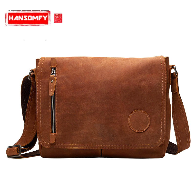 New casual leather men bag Korean fashion large capacity mad horse skin Genuine Leather retro men shoulder Messenger bagNew casual leather men bag Korean fashion large capacity mad horse skin Genuine Leather retro men shoulder Messenger bag