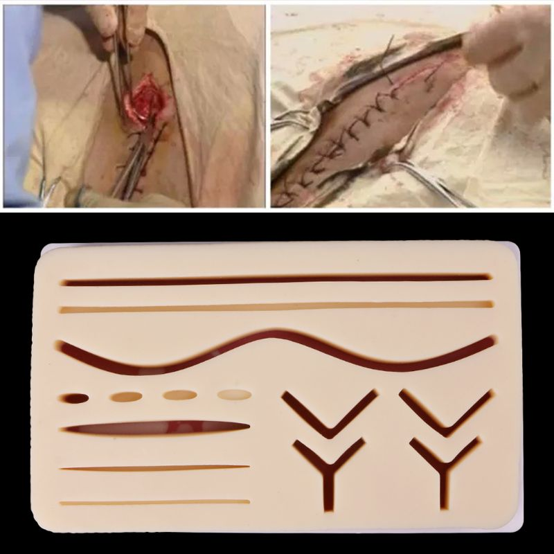 Silicone Human Skin Model Suture Practice Pad Surgical Training Practice Tool for School Medical Science Stationery skin block model 26 points displayed human skin anatomical model skin model