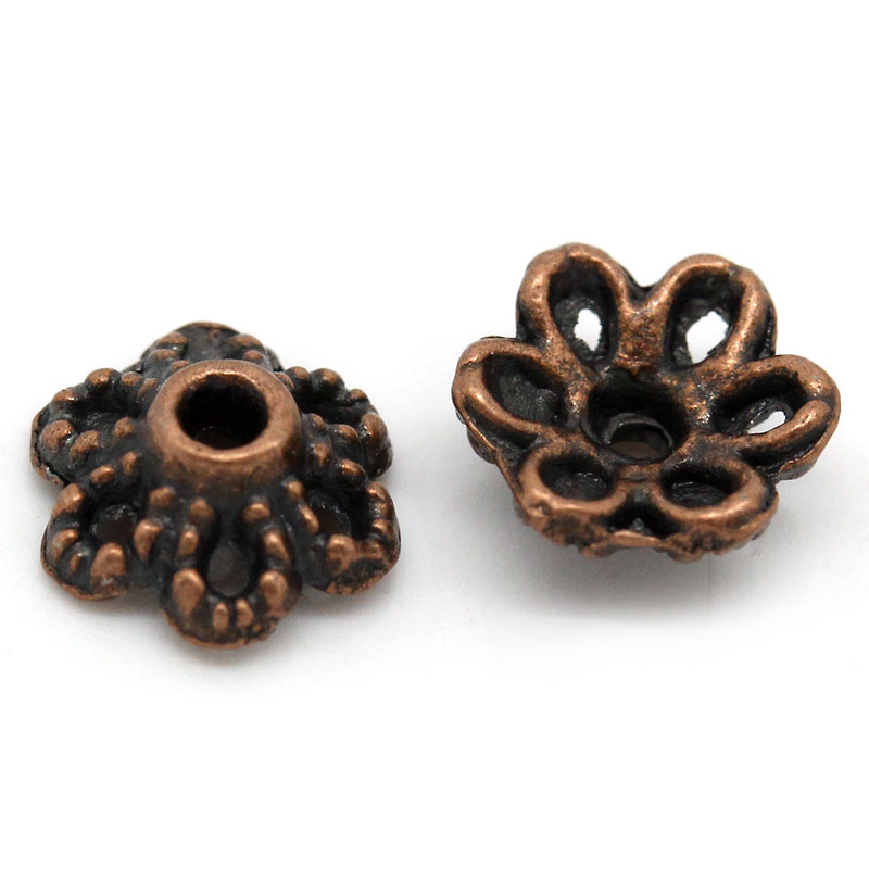 DoreenBeads Zinc Metal Alloy Beads Caps Flower Antique Copper (Fits 12.0mm Beads) 6.0mm( 2/8