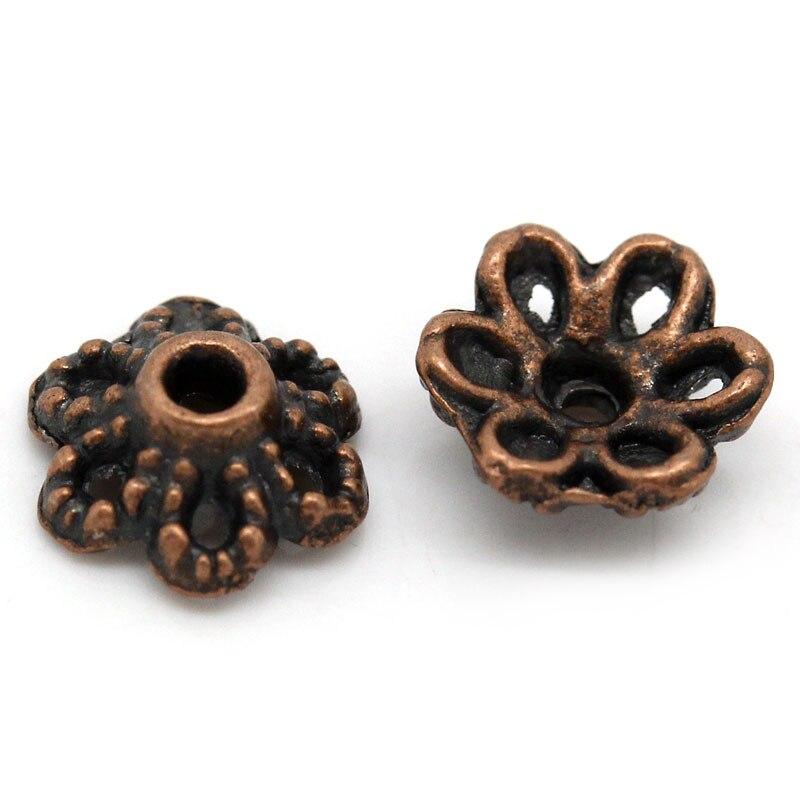 DoreenBeads Zinc Metal Alloy Beads Caps Flower Antique Copper (Fits 12.0mm Beads) 6.0mm( 2/8