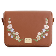 ENSSO New Arrival Vintage Floral Flower Lady Embroidery Rose Chain Leather PU Women's Shoulder Messenger Crossbody Bag Flap