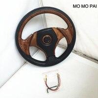 MOMO הגה אוניברסלי רכב סטיילינג פאי/הותאם 13 inch רכב הגה PU מירוץ אדום/צבע ציפוי/אפרסק צבע