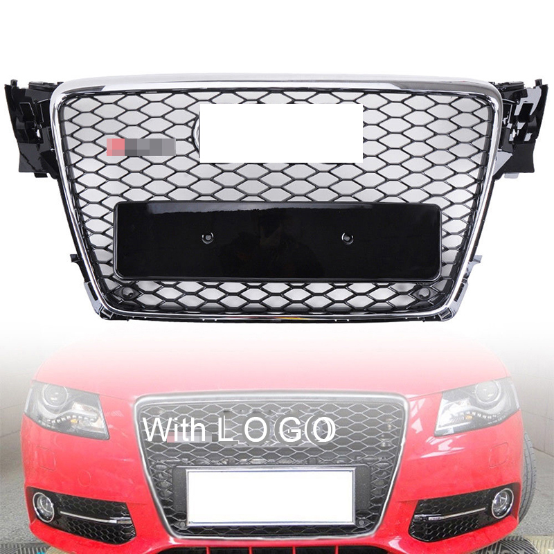 1Pcs Car Racing Grille For Audi A4 B8 Grill 2009-2012 RS4 Style Emblems Chrome Radiator Sliver Trim Front Bumper Mesh Honeycomb