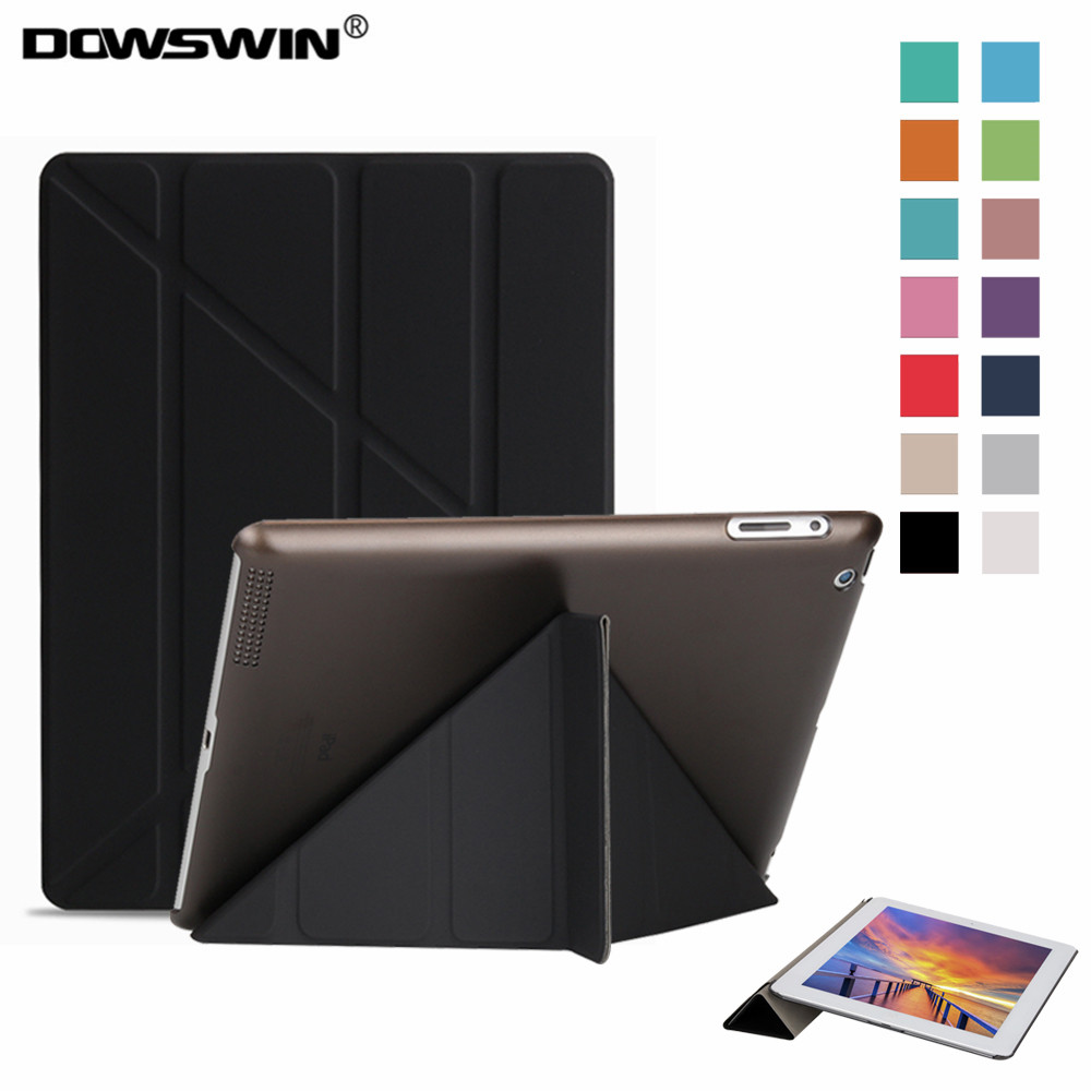 DOWSWIN case for ipad 2, Smart Cover for ipad 3 PU Leather with transparent PC hard back cover shockproof for ipad 4 case for apple ipad 2 ipad 3 shockproof case kenke cover for ipad 4 retina smart case slim designer tablet pu for ipad 4 case
