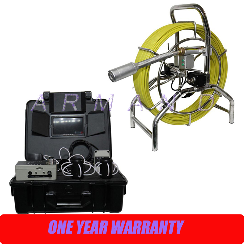 40mm Self leveling Camera Push Drain Inspection Camera Kit 7inch monitor 60m Cable Pipe Inspection Water Leak CCTV System