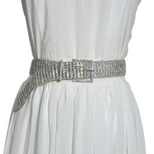 Womens Rhinestones Belts Wedding Dress Belt Accessories Luxury Eight-Row Full Crystal Diamond Waist Chain For Women