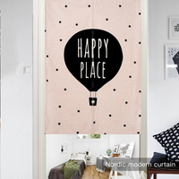 New Linen NOREN Japanese Style Door Curtain Deer Bear Balloon Letter Pink Plants Printed Tapestry 85x120cm