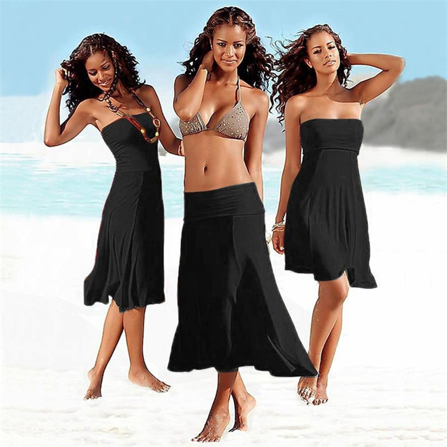 Летняя женская пляжная одежда купальный костюм пляжное платье без бретелек саронги Купальники Купальник пляжное платье Туника халат пляжная одежда