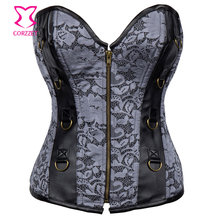 Corzzet Corset Sexy Gothic Gray Leather Steel Boned Zipper Overbust Corsets And Bustiers Waist Slimming Steampunk Korse