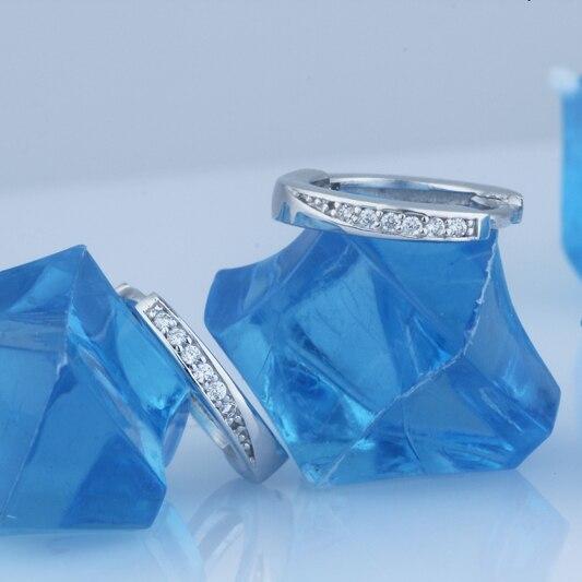 Real 925 Sterling Silver Costume jewelery earrings Hoop Dangle Women Circle Rings Diamante Crystal Fashion Findings Bijoux 1pair