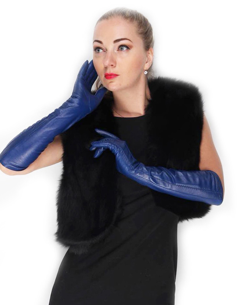 "women 47cm(18.5"") long lines real lamb skin evening warm leather gloves light blue"