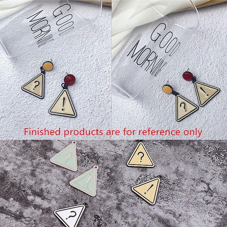 new arrived 30pcs/lot alloy drop oil question/Exclamation mark decoration cartoon Triangle floating locket pendants charms