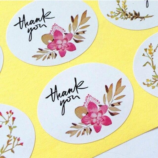 600pcs lot ellipse thank you flower print adhesive kraft seal