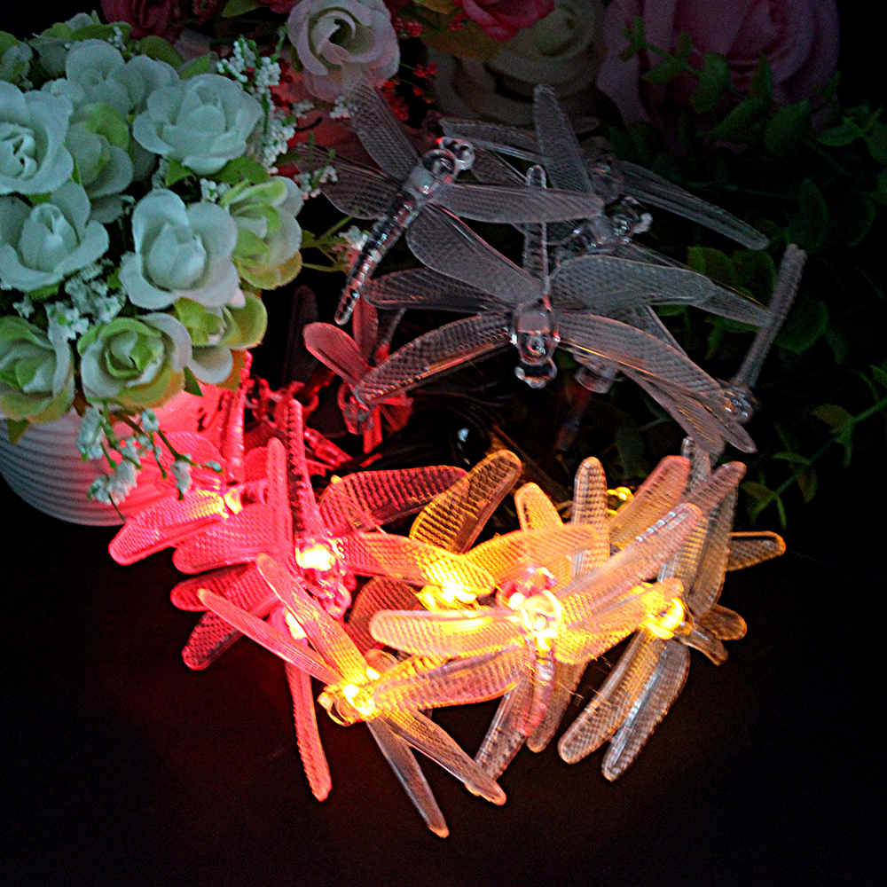 Charming 8 Modes 20 LED Solar Lights Garden Patio Indoor Decoration Wedding Party  And Holiday Outdoor String Lamp Dragonfly Shape