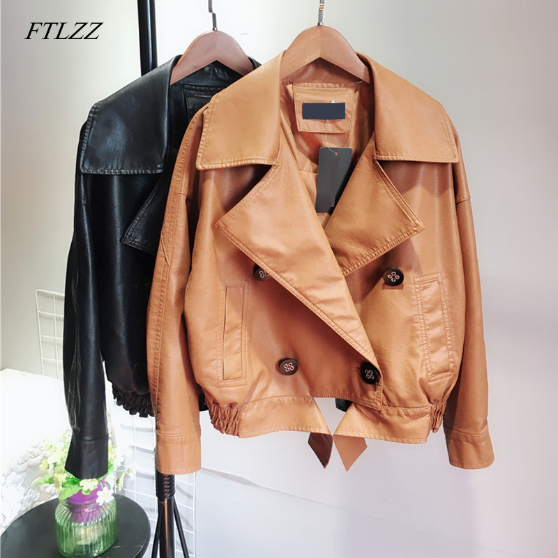 FTLZZ New Autumn PU   Leather   Jacket Women Casual Double Breasted Long Sleeve Faux Short Coat Female Bomber Jacket
