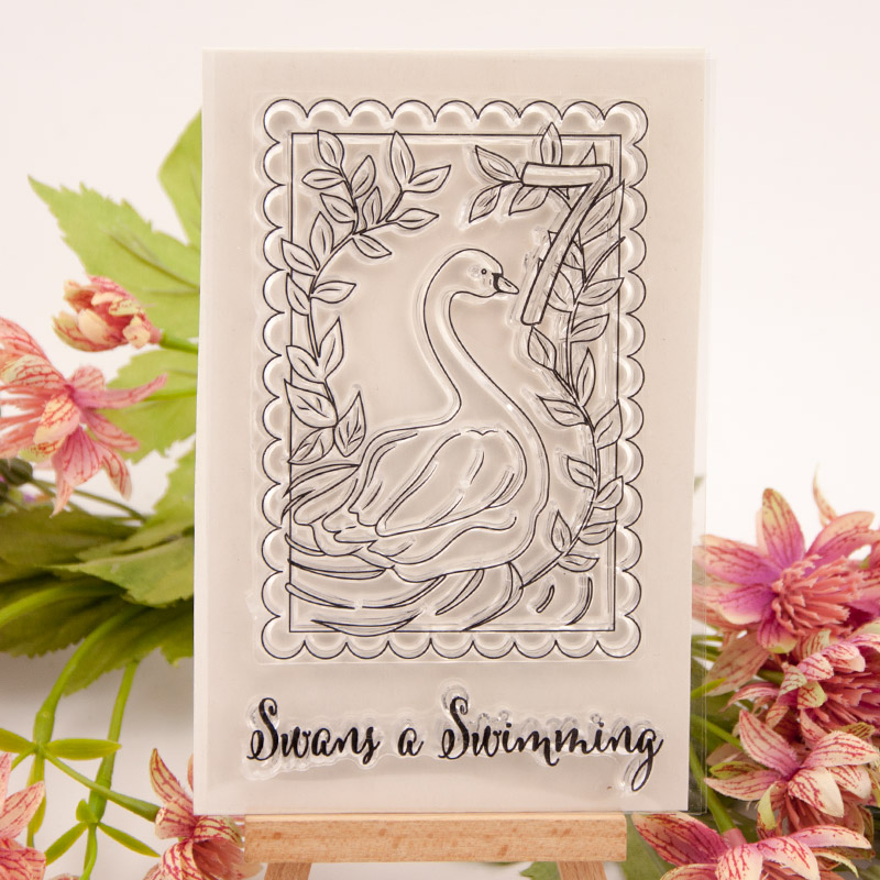 Swans Swimming Leaves Clear Stamps for Scrapbooking DIY Silicone Seals Photo Album Embossing Folder Maker Paper Template Crafts in Stamps from Home Garden
