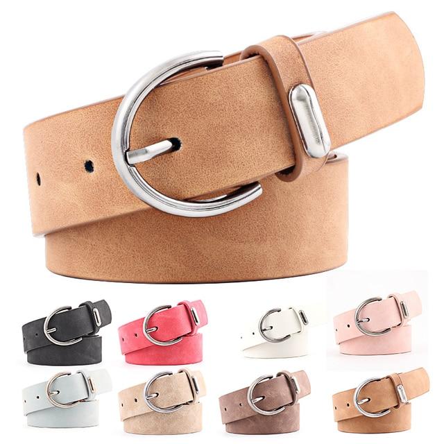 Moda mujer PU aguja cinturones de cuero Metal Pin hebilla cinturón cintura 46f04b2c5ef4