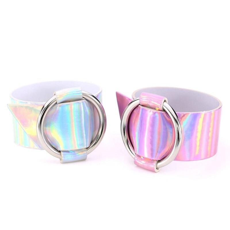 QCOOLJLY New Fashion Rainbow Holographic Bracelet For Women 2017 Round Statement Leather Wrap Bracelets Summer Punk Jewelry