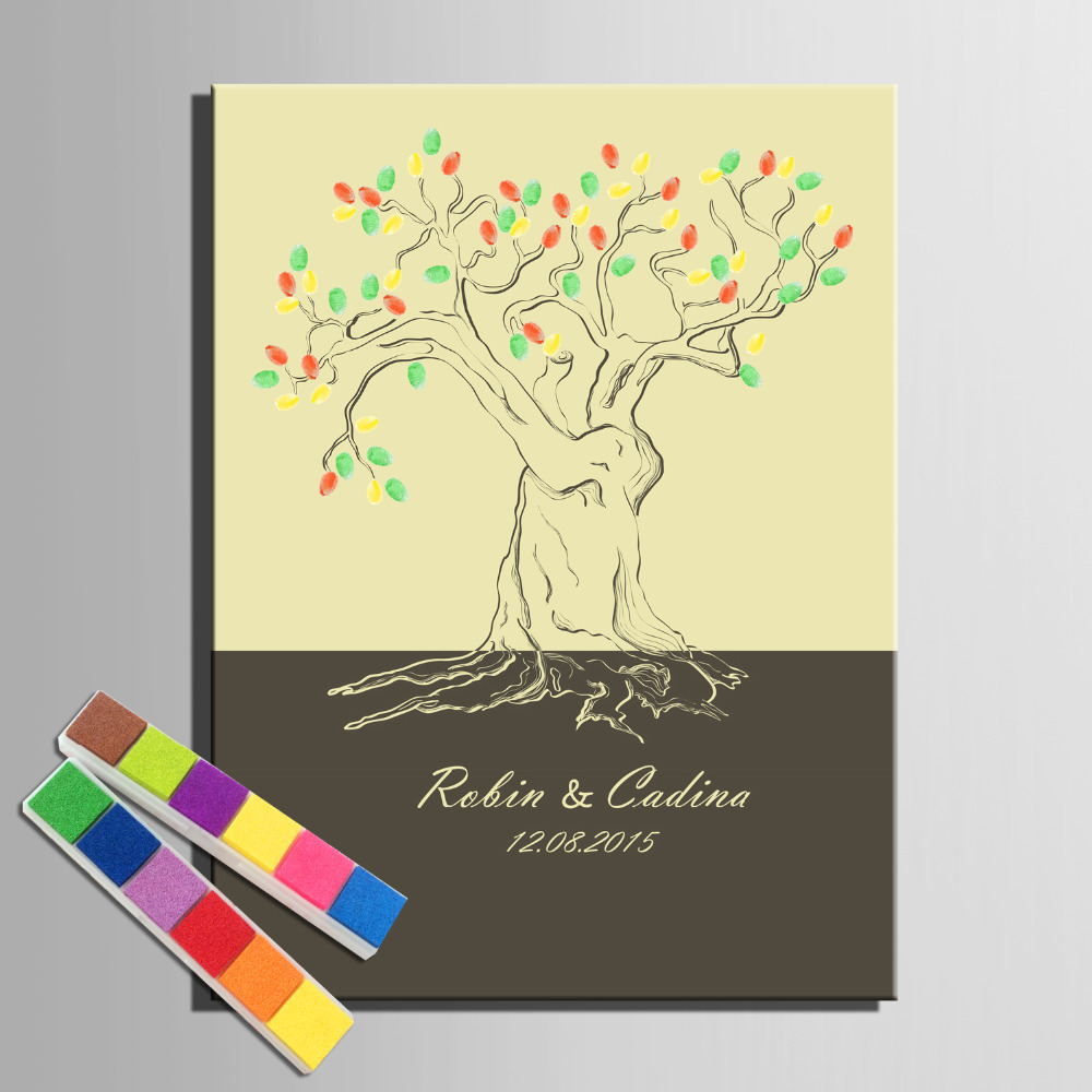 Fingerprint Tree Signature Canvas Painting Abstract Tree Wedding ...