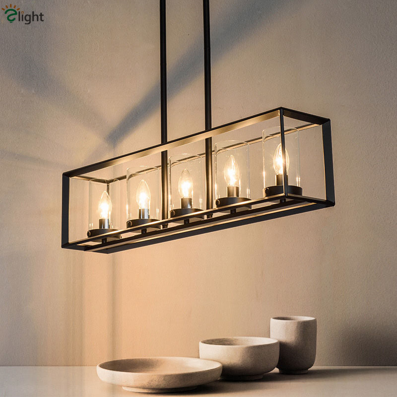 American Vintage 5 Light L80cm Metal Frame Led Pipe Pendant Light Thick Clear Glass Hangng Light For Dining Room Cafe Restaurant мозаика l antic colonial frame brick light 10x20 28 5x31 1