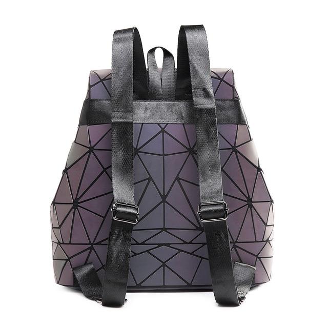 Women Backpack Luminous Geometric Plaid Sequin Female Backpacks For Teenage Girls Bagpack Drawstring Bag Holographic Backpack 1